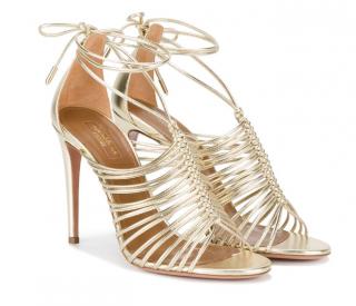 Aquazzura Gold Nadja 110 Leather Sandals