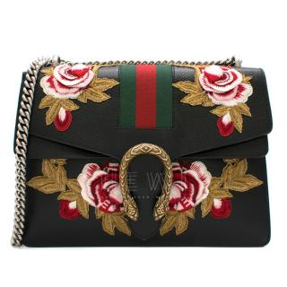 Gucci Black Embroidered Dionysus Leather Shoulder Bag