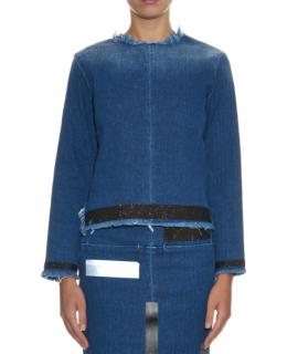 Aries Blue Natalie Glitter-Stripe Denim Top