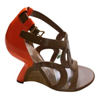 Bally Leather Cut-Out Sandals