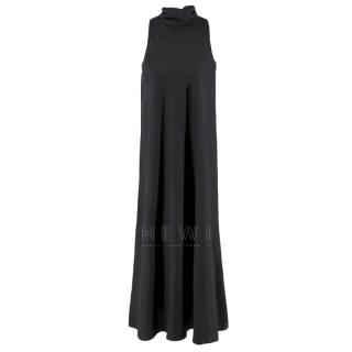 The Row Black Silk Tie Neck Sleeveless Dress