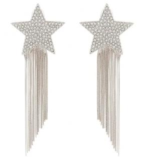 Saint Laurent Silver Shooting Star Tassel Drop Earrings