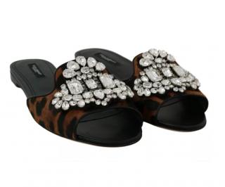 Dolce & Gabbana Leopard Printed Embellished Pony Hair Slides