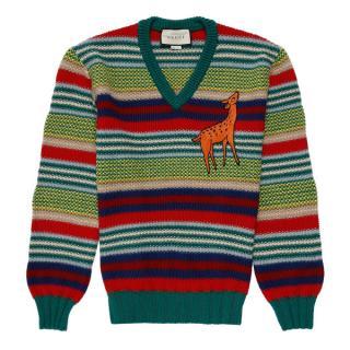 Gucci Multicolor Deer Wool Sweater