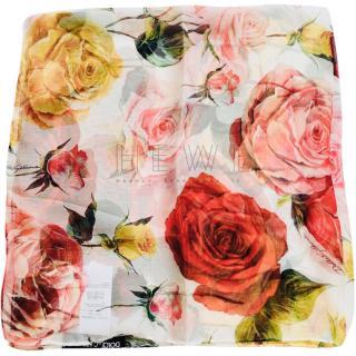 Dolce & Gabbana Silk Twill Rose Print Foulard