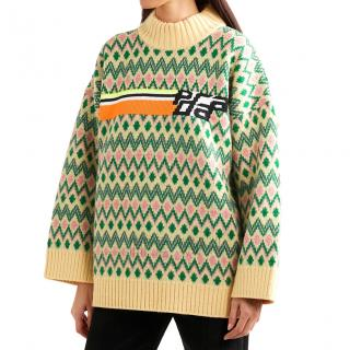 Prada Runway Intarsia Knit Oversize Sweater