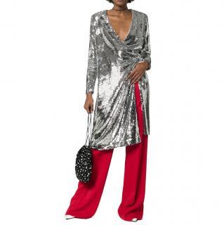 Ganni Silver Sequin Sonora Dress