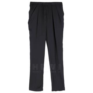 Lanvin Black Satin Pleat Waist Trousers