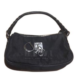 Dior Black Canvas Monogram Charm Shoulder Bag