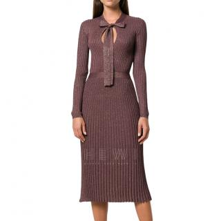 Prada Metallic Ribbed Knit Pussybow Dress