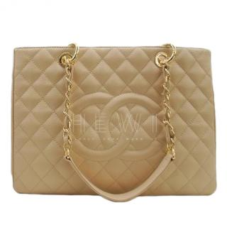 Chanel Beige Caviar Leather Grand Shopping Tote
