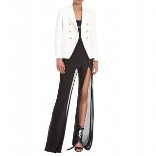 Balmain White Tailored Textured Ivory Blazer