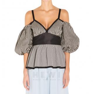 Isa Arfen Black & White Gingham Cold Shoulder Top