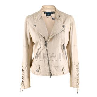 Ralph Lauren Ivory Leather Jacket