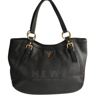 Prada Sacca 2 Manici Tote in dark brown leather