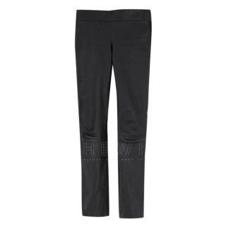 Alexander McQueen Black Leather & Suede Pants