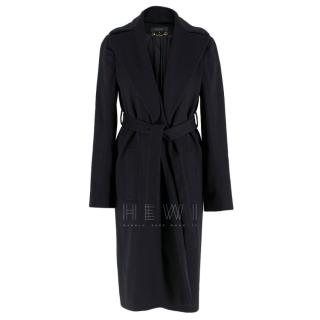 Gucci Black Wool Belted Wrap Coat