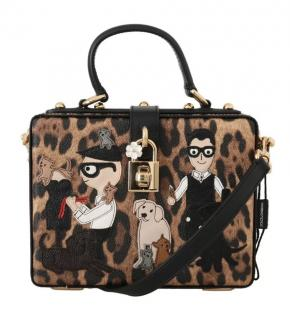 Dolce & Gabbana Leopard Print Family Patch Box Sicily Bag