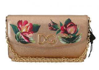 Dolce & Gabbana Gold Rose Print Micro Crossbody Bag
