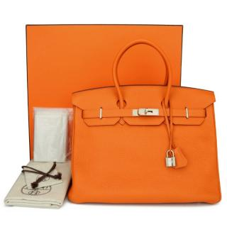 Hermes Orange Togo Leather 35cm Birkin