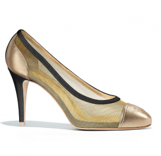 Chanel Gold Mesh & Leather Pumps