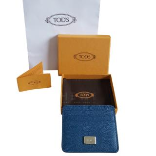 Tod's Blue Grained Leather Card Holder