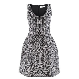 Prabal Gurung Black & White Silk Embroidered Dress