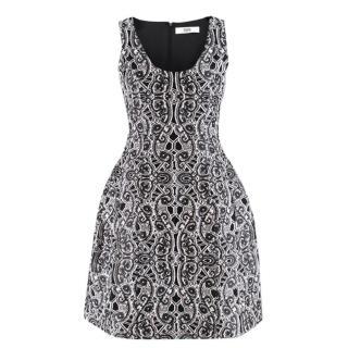 Prabal Gurung Black & White Silk Embroidered Dress