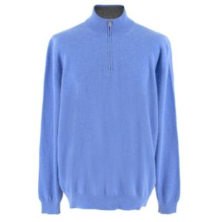 Avon Celli Blue Cashmere Half-Zip Jumper