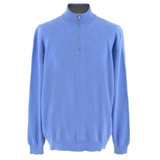 Avon Celli Blue Cashmere Half-Zip Jumper