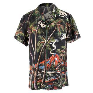 Dolce & Gabbana Satin Hawaiian Print Button Up Shirt