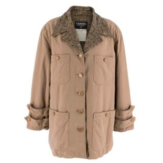 Chanel Taupe Tweed Lined Wool Jacket