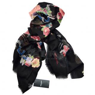 Saint Laurent Wool Floral Love Scarf