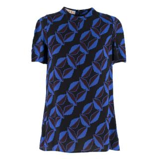 Marni Black and Blue Printed Chiffon Top