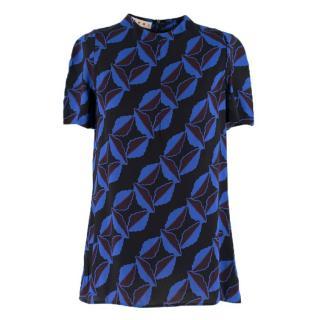 Marni Black and Blue Printed Chiffon Top
