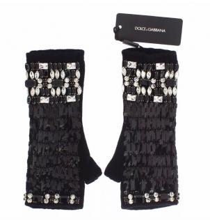 Dolce & Gabbana black cashmere knitted fingerless crystal gloves