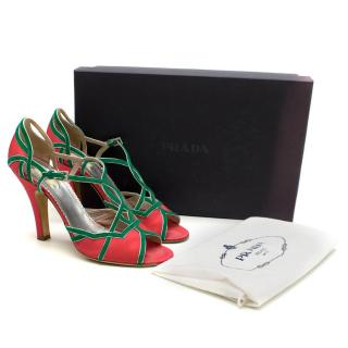 Prada Green and Pink Satin Peep Toe Strappy Pumps