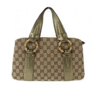 Gucci GG Canvas Bamboo Tote Bag