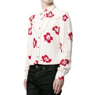 Saint Laurent Men's Hibiscus Floral Shirt
