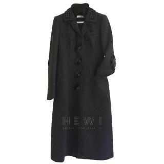 Prada Wool Embellished Coat W/ Detachable Mink Collar