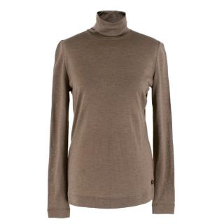 Loro Piana Brown Cashmere Fine Knit Top