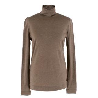 Loro Piana Brown Cashmere Fine Knit Top