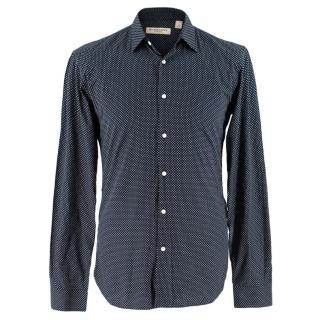 Burberry Navy Micro Polka Dot Shirt
