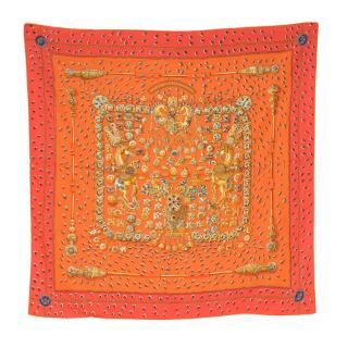 Hermes Tresors Retrouves Orange Silk Scarf 90