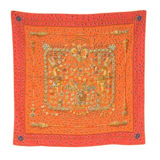 Hermes Tresors Retrouves Orange Silk Scarf 90