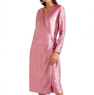 Ganni Pink Sequin Wrap Dress - New Season