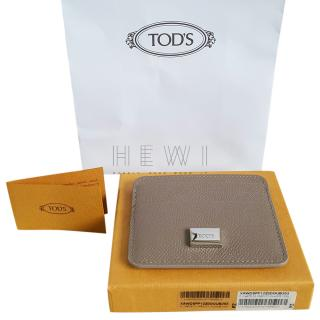 Tod's Taupe Grained Leather Card Holder