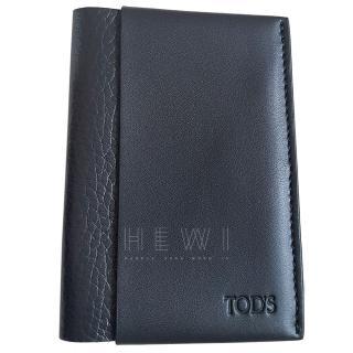 Tod's Black Leather Vertical Card Holder