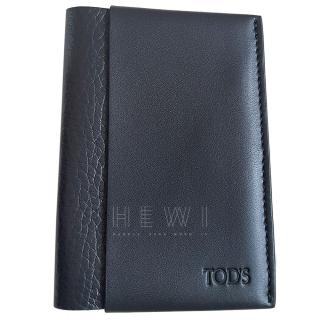Tod's Black Leather Vertical Card Holder