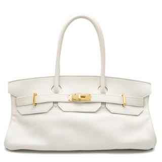Hermes White Himalaya Clemence Leather JPG Shoulder Birkin 42